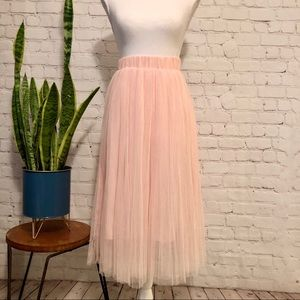 NWT $78 English Factory Baby Pink Tulle Midi Skirt